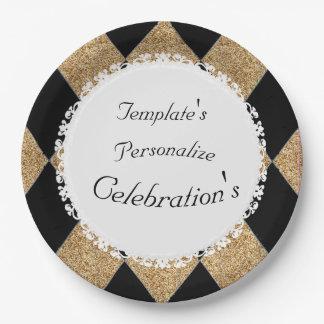 Gold-Glitter-Black-Diamonds-Celebration(c)TEMPLATE Paper Plate