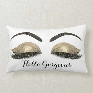 Gold Glitter Black Eyes Sepia Makeup Lashes White Lumbar Pillow