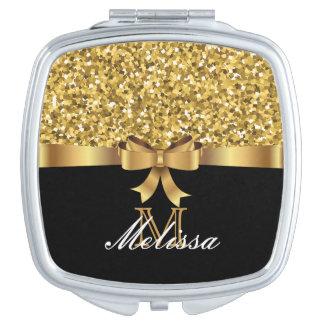 GOLD GLITTER  BLACK GOLDEN BOW MONOGRAM VANITY MIRROR
