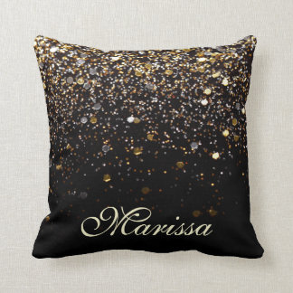 Gold Glitter Black Sparkles Stylish Throw Pillow