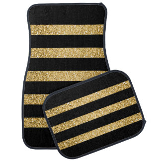 Gold Glitter Black Stripes Pattern Monogram Car Mat
