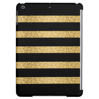 Gold Glitter Black Stripes Pattern Monogram Cover For iPad Air