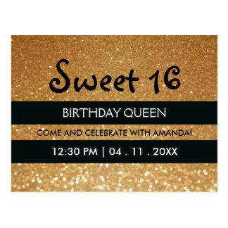 Gold Glitter Black Stripes Sweet Sixteen Birthday Postcard