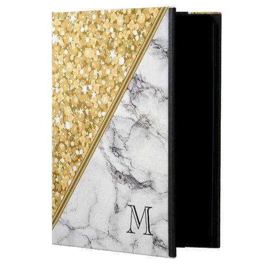 Gold Glitter Black White Marble Monogram Case For iPad Air