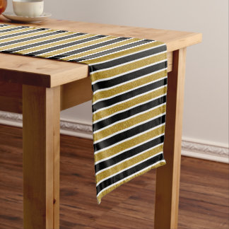 Gold Glitter Black & White Stripes Table Runner