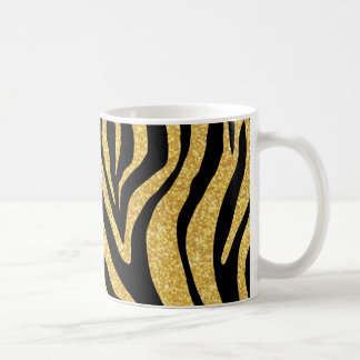 Gold Glitter Black Zebra Stripes Animal Print Coffee Mug