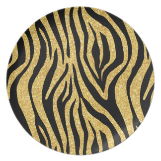 Gold Glitter Black Zebra Stripes Animal Print Plate