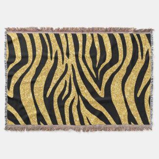 Gold Glitter Black Zebra Stripes Animal Print Throw