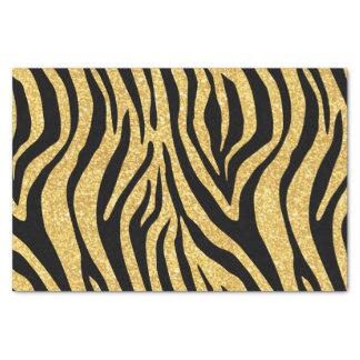 Gold Glitter Black Zebra Stripes Animal Print Tissue Paper