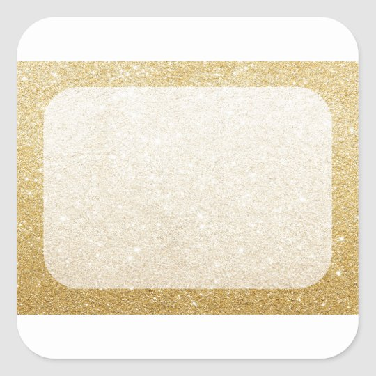 gold glitter blank template for customization square sticker