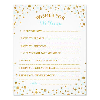 Gold Glitter Blue Sprinkle Confetti Baby Wish Card