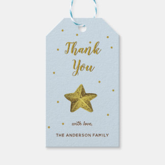 Gold Glitter Blue Thank You Starfish Gift Tags