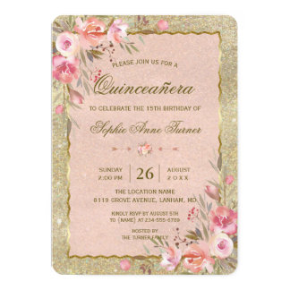Gold Glitter Blush Floral Quinceañera Birthday Card