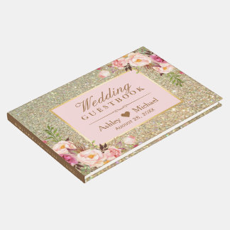 Gold Glitter Blush Pink Floral Wedding Guest Book