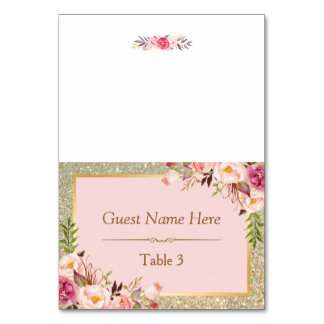 Gold Glitter Blush Pink Floral Wedding Place Card