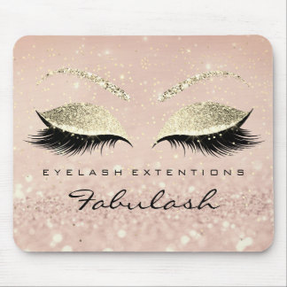 Gold Glitter Branding Beauty Skinny Lashes Pink Mouse Pad