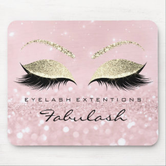 Gold Glitter Branding Beauty Studio Lashes Pink Mouse Pad