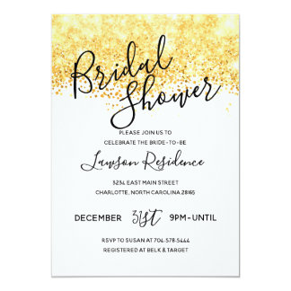 Gold Glitter Bridal Shower Card