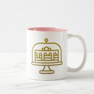 Gold Glitter Cake Two-Tone Coffee Mug