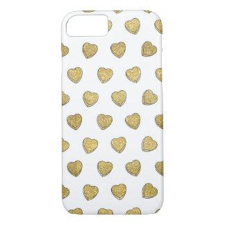 Gold Glitter Candy Heart iPhone 7 Case