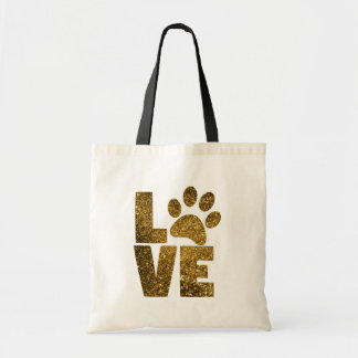 Gold Glitter Cat / Dog Pawprint Tote Bag