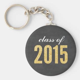 Gold Glitter Chalkboard Class of 2015 Graduation Keychain