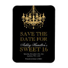 Gold Glitter Chandelier Sweet 16 Save the Date Magnet