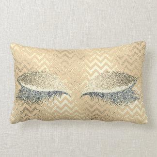 Gold Glitter Chevron Champaign Stripe Makeup White Lumbar Pillow
