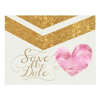 Gold Glitter Chevron Heart Save the Date Card