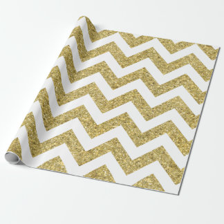 Gold Glitter Chevron Holiday Wrapping Paper