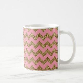 Gold Glitter Chevron Pattern on Pink Coffee Mug