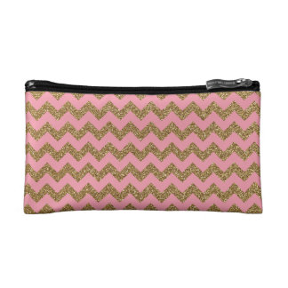 Gold Glitter Chevron Pattern on Pink Cosmetics Bags