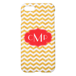 Gold Glitter Chevron with Red - iPhone 7 case