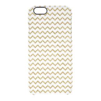 Gold Glitter chevron zig zag pattern Clear iPhone 6/6S Case