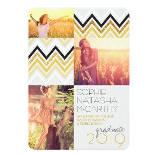 """Gold Glitter Chic Chevron Stripes Graduation Party 5"""" X 7"""" Invitation Card"""