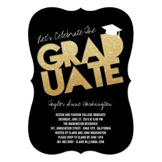 "Gold Glitter Chic Graduate Cutout Graduation Party 5"" X 7"" Invitation Card"
