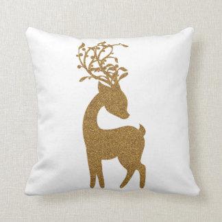 Gold Glitter Christmas Holiday Reindeer Throw Pillow