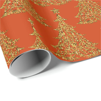 Gold Glitter Christmas Tree Wrapping Paper