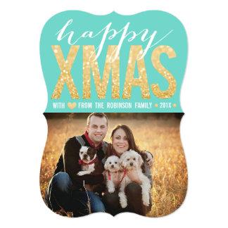 "Gold Glitter Christmas Typography Photo Flat Card 5"" X 7"" Invitation Card"