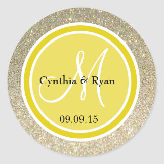 Gold Glitter & Citrine Yellow Wedding Monogram Classic Round Sticker