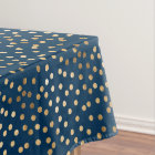 Gold Glitter City Dots on Navy Blue Tablecloth