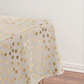 Gold Glitter City Dots on Soft Beige Tablecloth