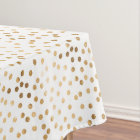Gold Glitter City Dots on White Table Cloth