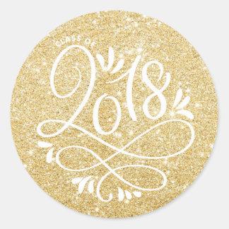 Gold Glitter Class of 2018 Flourish Graduation Classic Round Sticker
