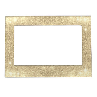 Gold Glitter Classic Glamour Sparkle Faux Magnetic Picture Frame