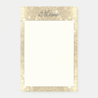 Gold Glitter Classic Glamour Sparkle Faux Post-it Notes