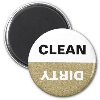 Gold Glitter Clean/Dirty Dishwasher 2 Inch Round Magnet
