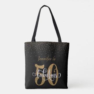 Gold Glitter & Confetti 50 & Fabulous Personalized Tote Bag