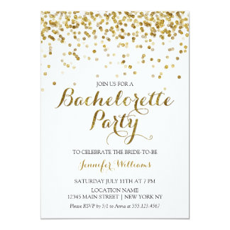 Gold Glitter Confetti Bachelorette Party Invite