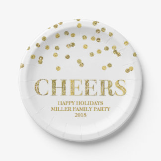 Gold Glitter Confetti Cheers Holiday Plate